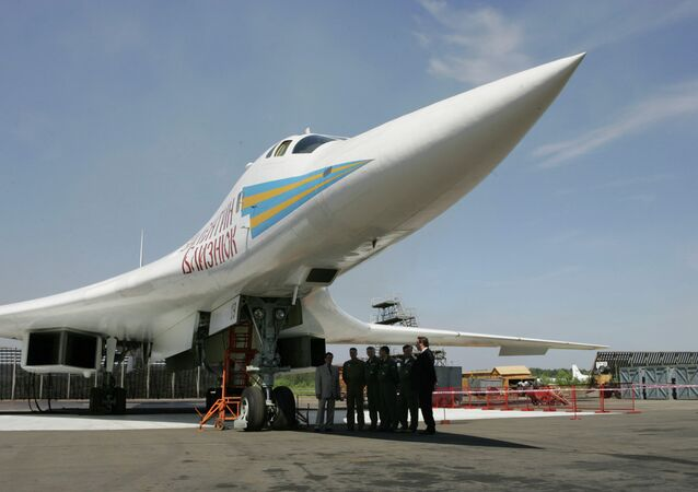 Russian supersonic Tu-160 strategic bomber seen at an airfield near Kazan, about 700 kilometers (450 miles) east of Moscow, file photo