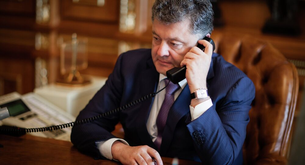 Petro Poroshenko speaks with Mark Rutte