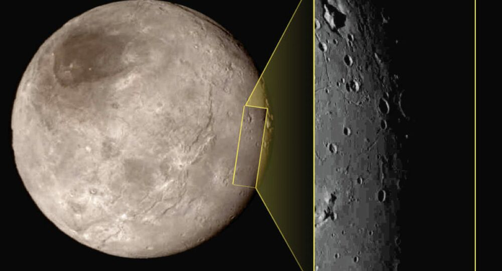 This photo shows Pluto's largest moon Charon, left, with a captivating feature, a depression with a peak in the middle, shown in the upper left corner of the inset image at right.