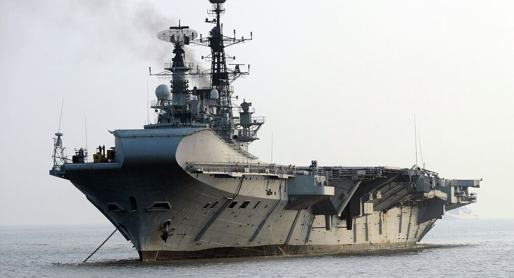 Indian Navy's aircraft carrier INS Viraat is anchored off Mumbai harbour after an operational demonstration as a pre-cursor to the upcoming President's Fleet Review ( PFR-11) on November 14, 2011
