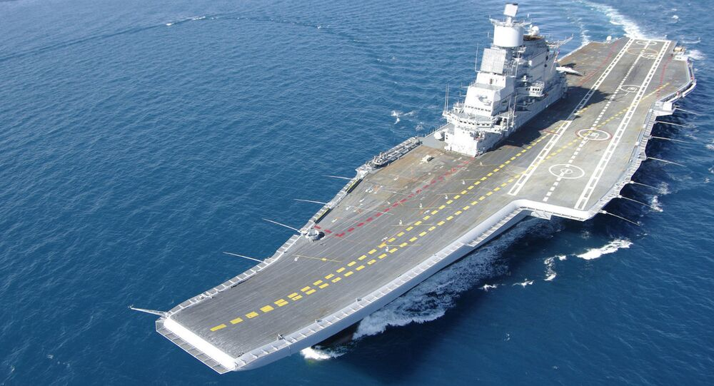 Indian Aircraft Carrier INS Vikramaditya during her sea trials