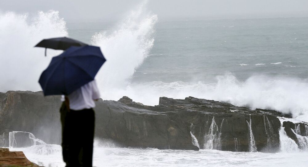 High waves caused by Typhoon Nangka break on the shores of Senjojiki, Shirahama town, Wakayama prefecture, Japan, in this photo taken by Kyodo July 16, 2015