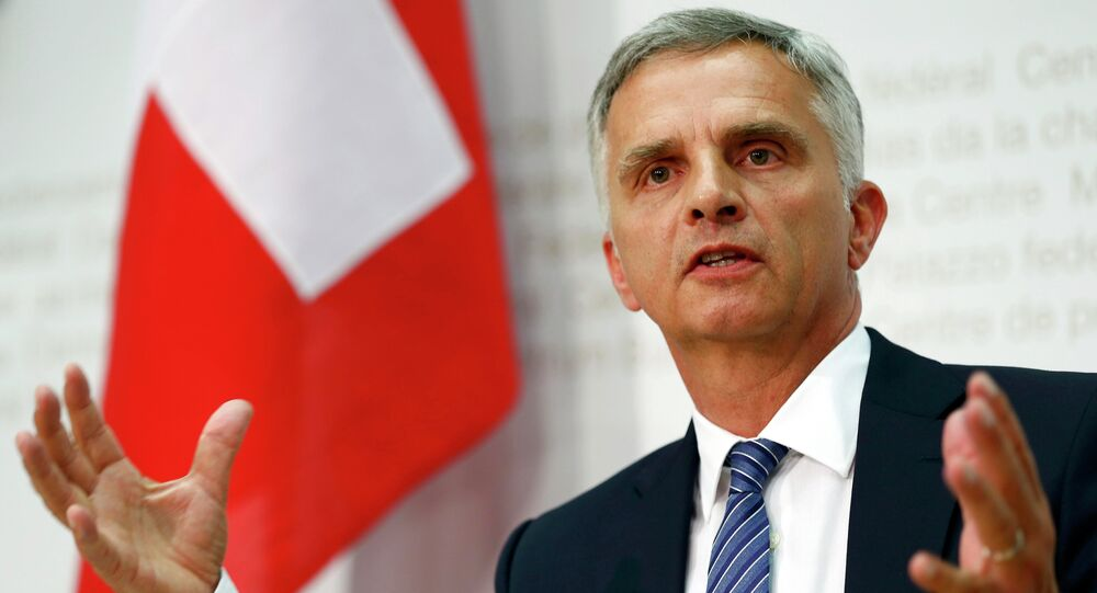 Swiss Foreign Minister Didier Burkhalter speaks to media after the weekly meeting of the Federal Council on the relations between Switzerland and the European Union in Bern, Switzerland June 24, 2015