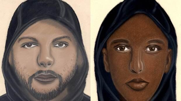 Police sketches of assailants believed to be attacking couples