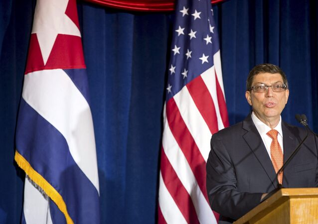 Cuban Foreign Minister Bruno Rodriguez speaks during a ceremony to reopen the Cuban embassy in Washington, July 20, 2015.