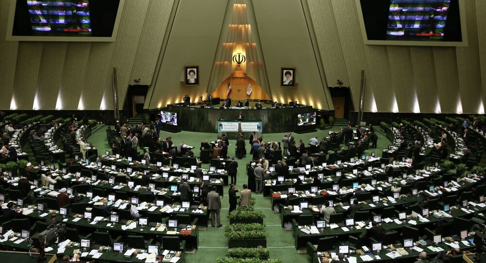 A general view shows Iran's parliament