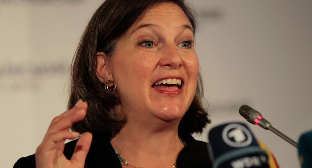 US Assistant Secretary of State Victoria Nuland speaks during news conference in Kiev, Ukraine.