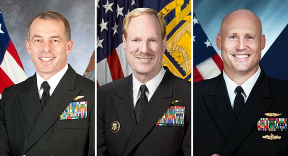 From left, US Navy Admirals Terry Kraft, Michael Miller, and David Pimpo.