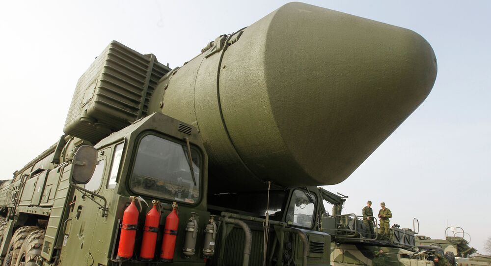Topol M missile system shown at Alabino range near Moscow