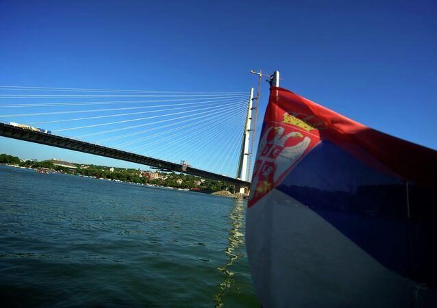 View of the new Sava River Bridge in Belgrade