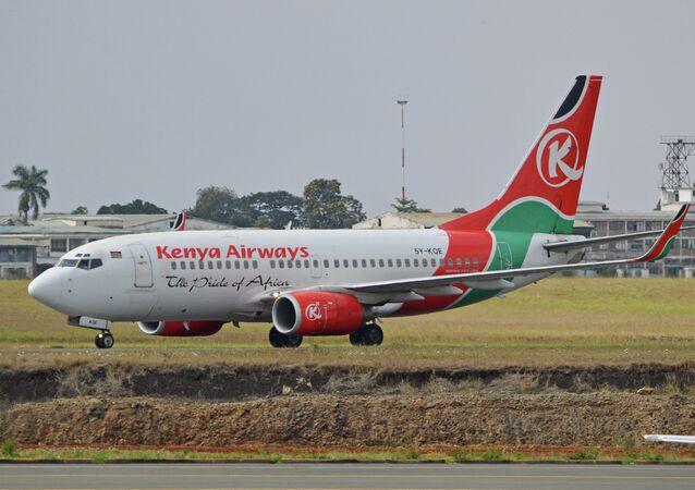 '5Y-KQE' Kenya Airways at Nairobi's Jomo Kenyatta International Airport.