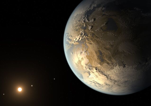 This artist's concept depicts Kepler-186f , the first validated Earth-size planet to orbit a distant star in the habitable zone.