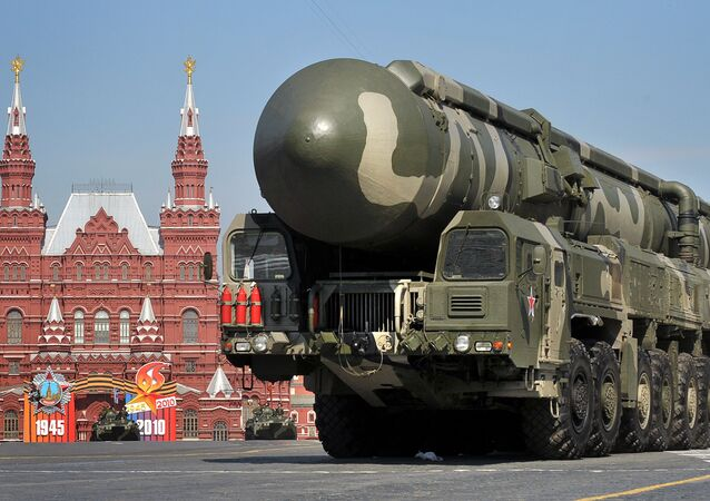 Russian Topol-M intercontinental ballistic misiles drive through Red Square during the Victory Day parade in Moscow on May 9, 2010