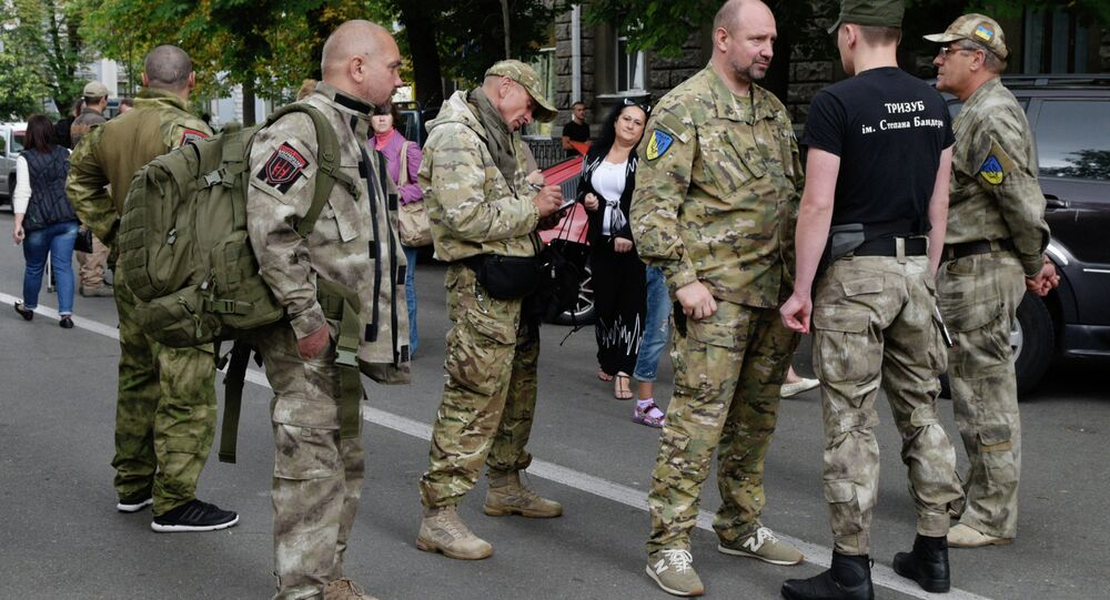 Right Sector holds rally near Ukrainian presidential administration building
