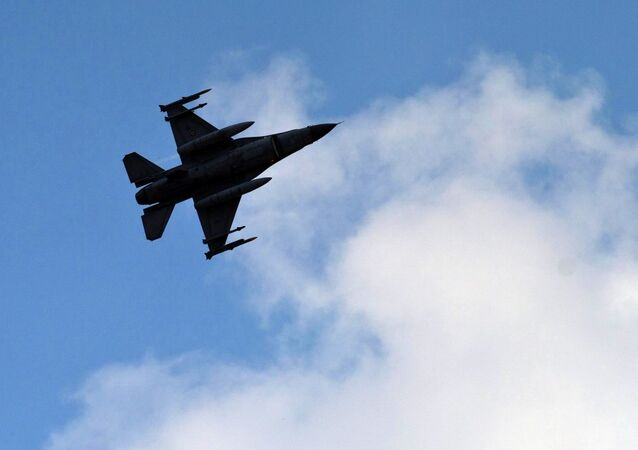 A Turkish fighter jet flies above the Incirlik airbase, southern Turkey.