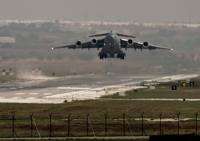 A US Air Force plane takes off from the Incirlik airbase, southern Turkey, Sunday, Sept. 1, 2013.