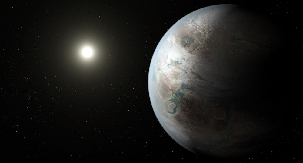 This artistic concept depicts one possible appearance of the planet Kepler-452b, the first near-Earth-size world to be found in the habitable zone of star that is similar to our sun.