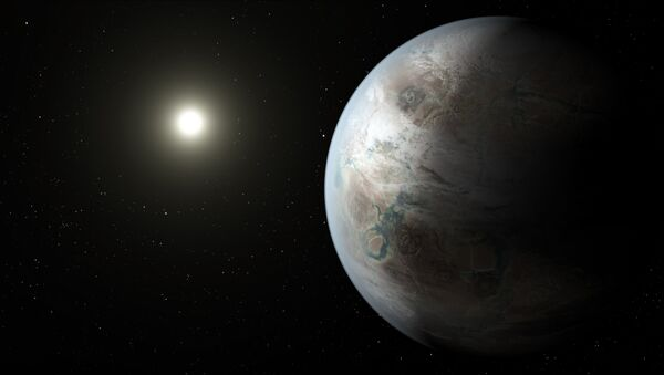 This artistic concept depicts one possible appearance of the planet Kepler-452b, the first near-Earth-size world to be found in the habitable zone of star that is similar to our sun. - Sputnik International