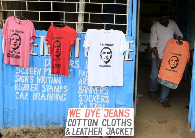 A t-shirt newly printed with the image of U.S. President Barack Obama, ahead of his scheduled state visit, in Kenya's capital Nairobi July 23, 2015.