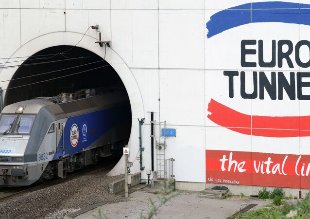 A EuroTunnel train coming out of the Channel Tunnel, owned by EuroTunnel, on in Coquelles, northern France.