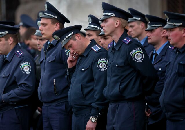 Police troops guard in Odessa, Ukraine