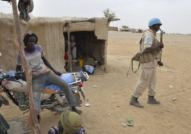 UN peacekeepers patrol