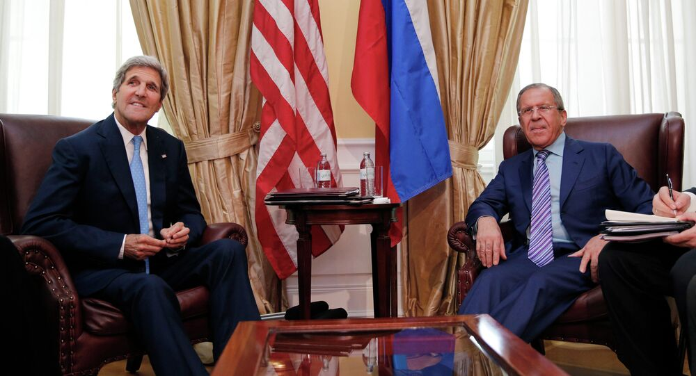 U.S. Secretary of State John Kerry meets with Russian Foreign Minister Sergey Lavrov at a hotel in Vienna Tuesday June 30, 2015.