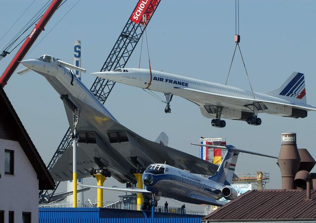 The Air France supersonic liner Concorde F-BVFB is placed on the roof of the the Museum of Transport beside a Soviet supersonic liner Tupolev 144 17 March 2004 in Sinsheim, west of Greman