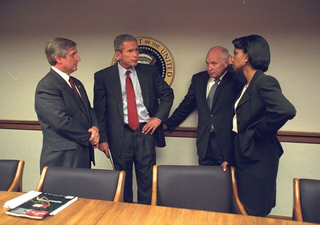 President Bush with Vice President Cheney and Senior Staff in the President's Emergency Operations Center