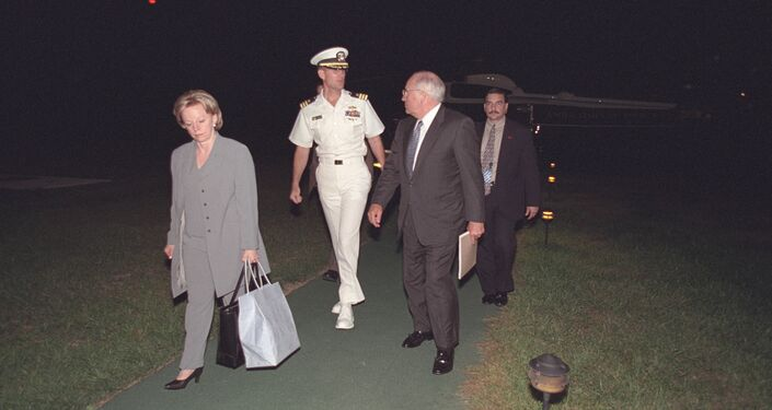 Vice President Cheney and Lynne Cheney Arrive at Camp David