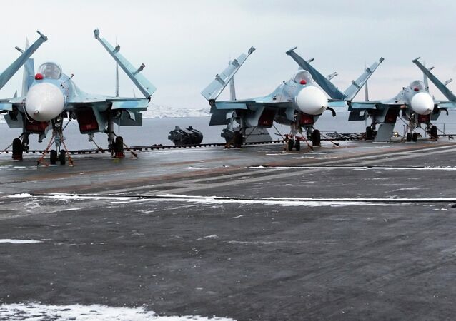SU-33 multi-role carrier-based fighters on board the Admiral Kuznetsov aircraft carrier.