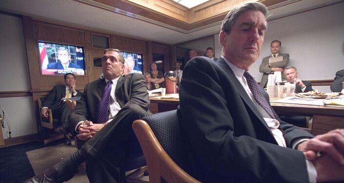 Senior Staff Listen to President Bush's Address in the President's Emergency Operations Center
