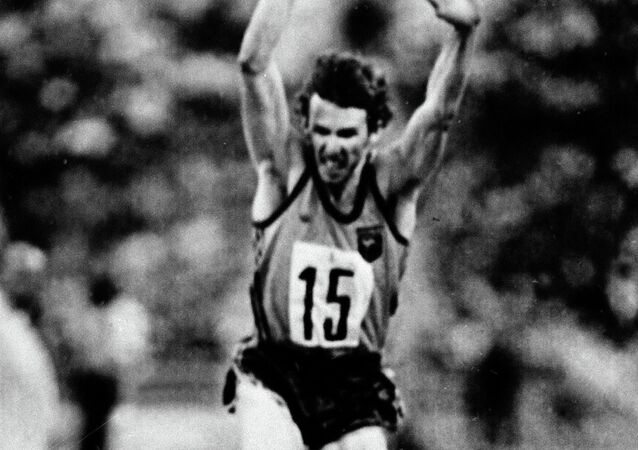 Ian Campbell of Australia begins his triple jump at the Summer Olympics in Moscow, July 26, 1980