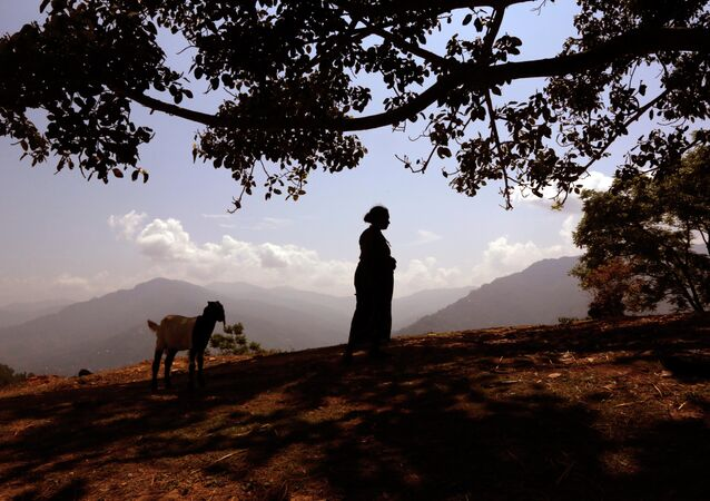 A Nepalese woman waits for relief material to arrive in Pauwathock village, Sindhupalchok district, Nepal