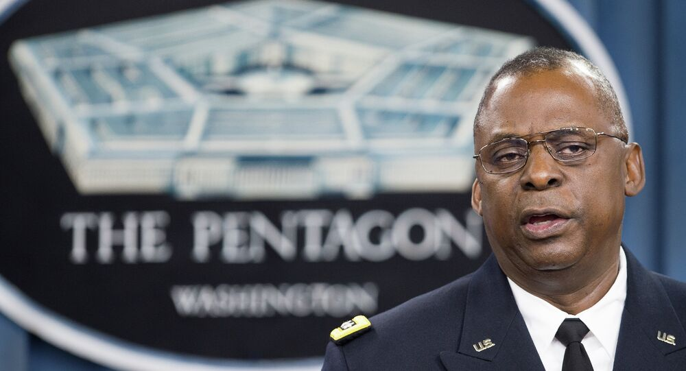Commander of US Central Command Gen. Lloyd Austin III conducts a media briefing on Operation Inherent Resolve, the international military effort against (IS) Islamic State group, on October 17, 2014