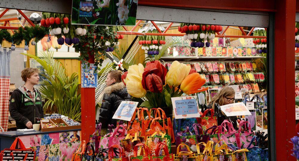 A flower market in Amsterdam