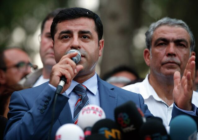 Co-chairman of the pro-Kurdish Peoples' Democracy Party Selahattin Demirtas speaks in Suruc, Turkey, Tuesday, July 21, 2015