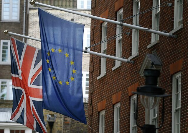 The Union flag and the European Union flag fly outside Europe House, The European Commission Representation in London.