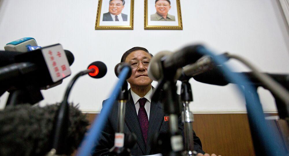 North Korean Ambassador to China Ji Jae Ryong attends a press conference at the North Korean Embassy in Beijing, China