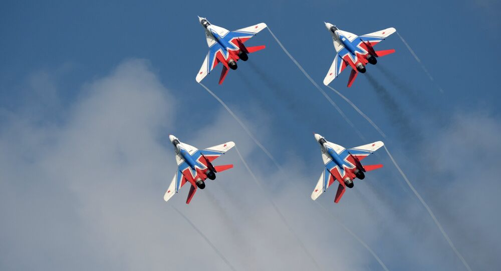 MiG-29 fighter planes of the Swifts aerobatic team