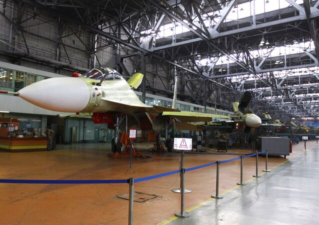 Multi-purpose Su-30CM fighter jet in the assembly shop at the Irkutsk aviation plant
