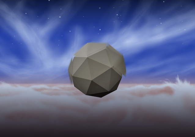 Artists rendering of the windbot in the skies of Jupiter. The slightly blurred sections rotate to absorb wind energy and create lift.