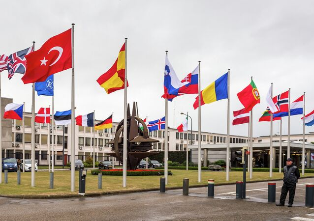 NATO country flags wave outside NATO headquarters in Brussels on Tuesday July 28, 2015.