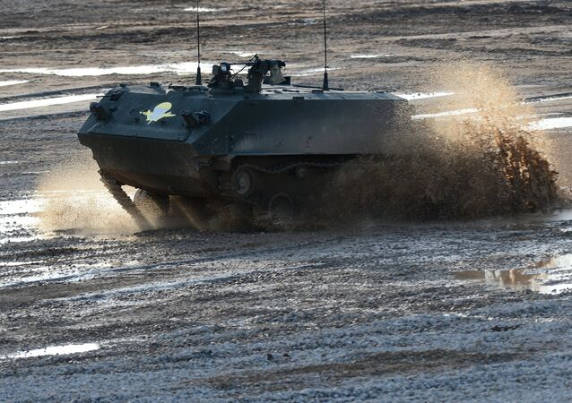 A BTR-MDM Rakushka air-portable amphibious armored personnel carrier during a demo show at the ARMY-2015 international military technical forum held in Kubinka outside.