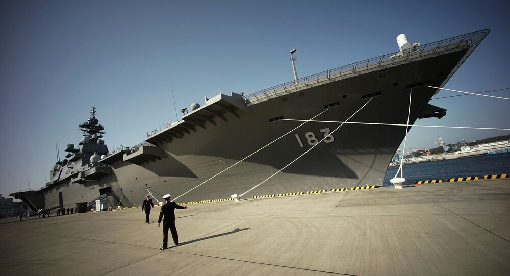 Destroyer Izumo of Japan's Maritime Self-Defense Force (JMSDF) in Yokosuka, south of Tokyo
