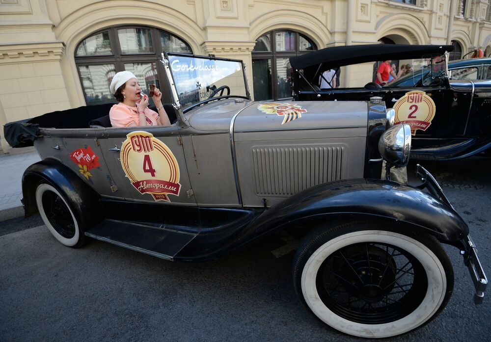 Soviet Style Icons: Retro Car Rally on Red Square