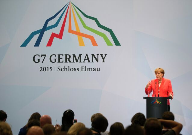 Germany's Chancellor Angela Merkel addresses a press conference at Elmau Castle near Garmisch-Partenkirchen, southern Germany at the end of a G7 summit
