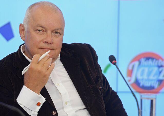 Dmitry Kiselyov, Director-General, Rossiya Segodnya international news agency, attending a press conference on the international Koktebel Jazz Party, held at the multi-media press center Rossiya Segodnya