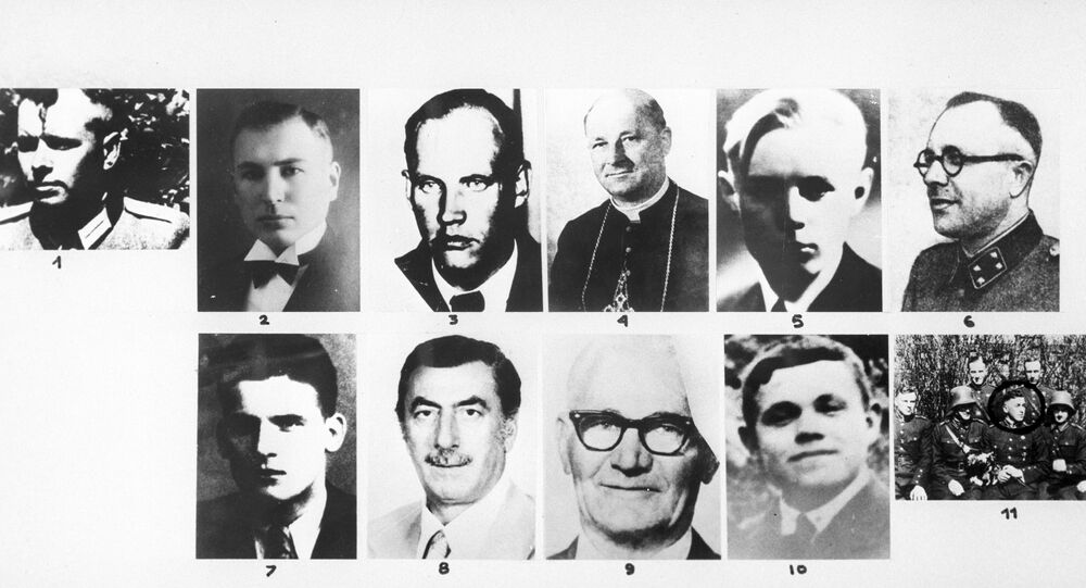 Nazi criminals during the Great Patriotic War of 1941-1945. Reproduction of a photo.