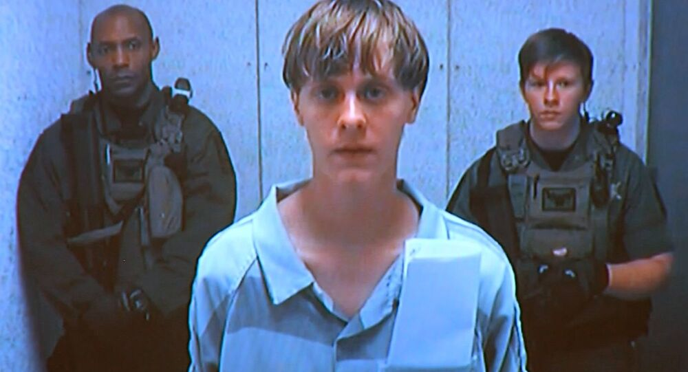 Dylann Roof appears by closed-circuit television at his bond hearing in Charleston, South Carolina